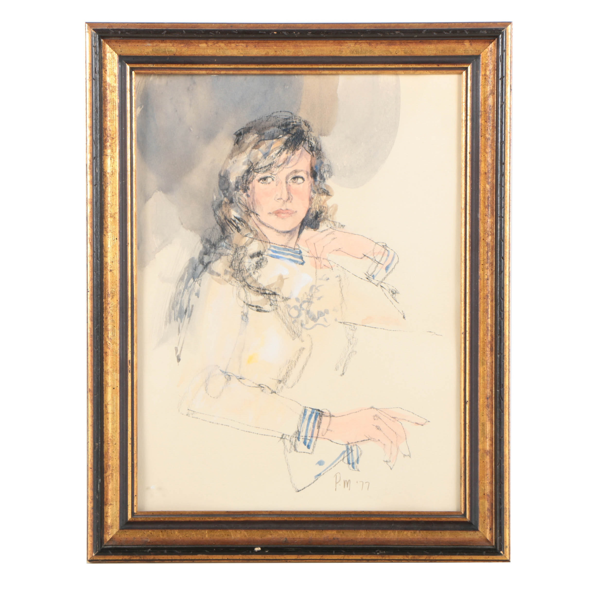 Paul Melia Vintage Portrait of a Woman in Charcoal and Watercolor