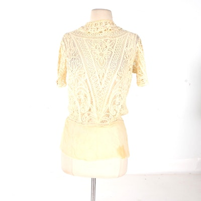 Vintage Cream Lace Women's Blouse