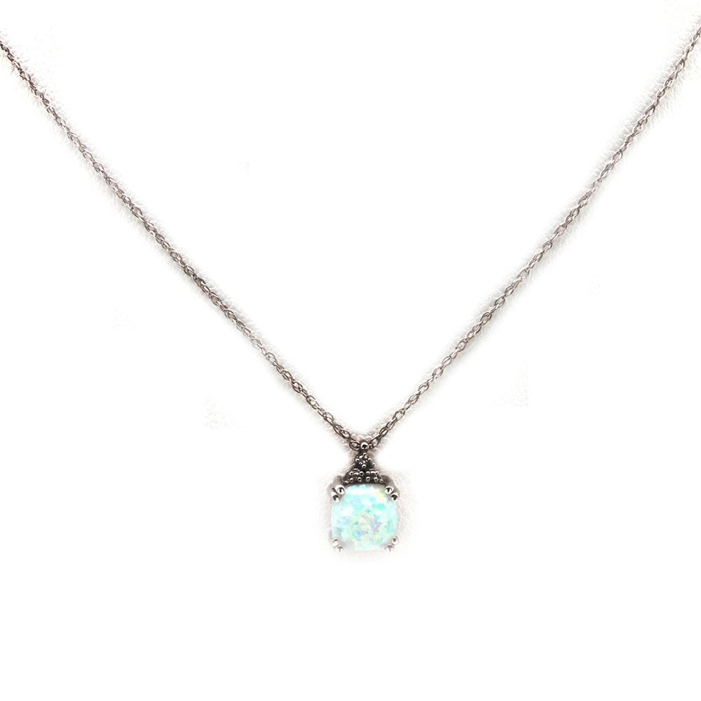14K White Gold Opal and Diamond Pendant Necklace