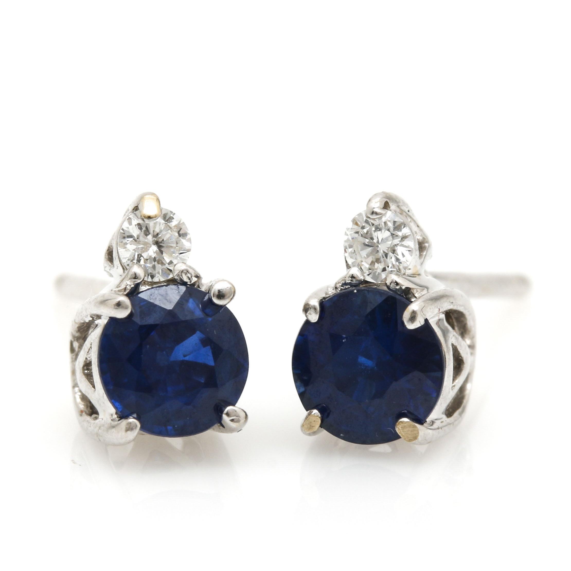 Clyde Duneier 18K White Gold Sapphire and Diamond Stud Earrings