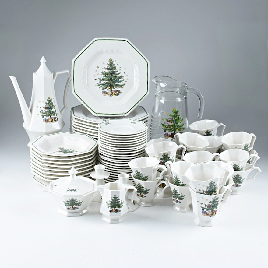 set of nikko christmastime china stemware and serving pieces