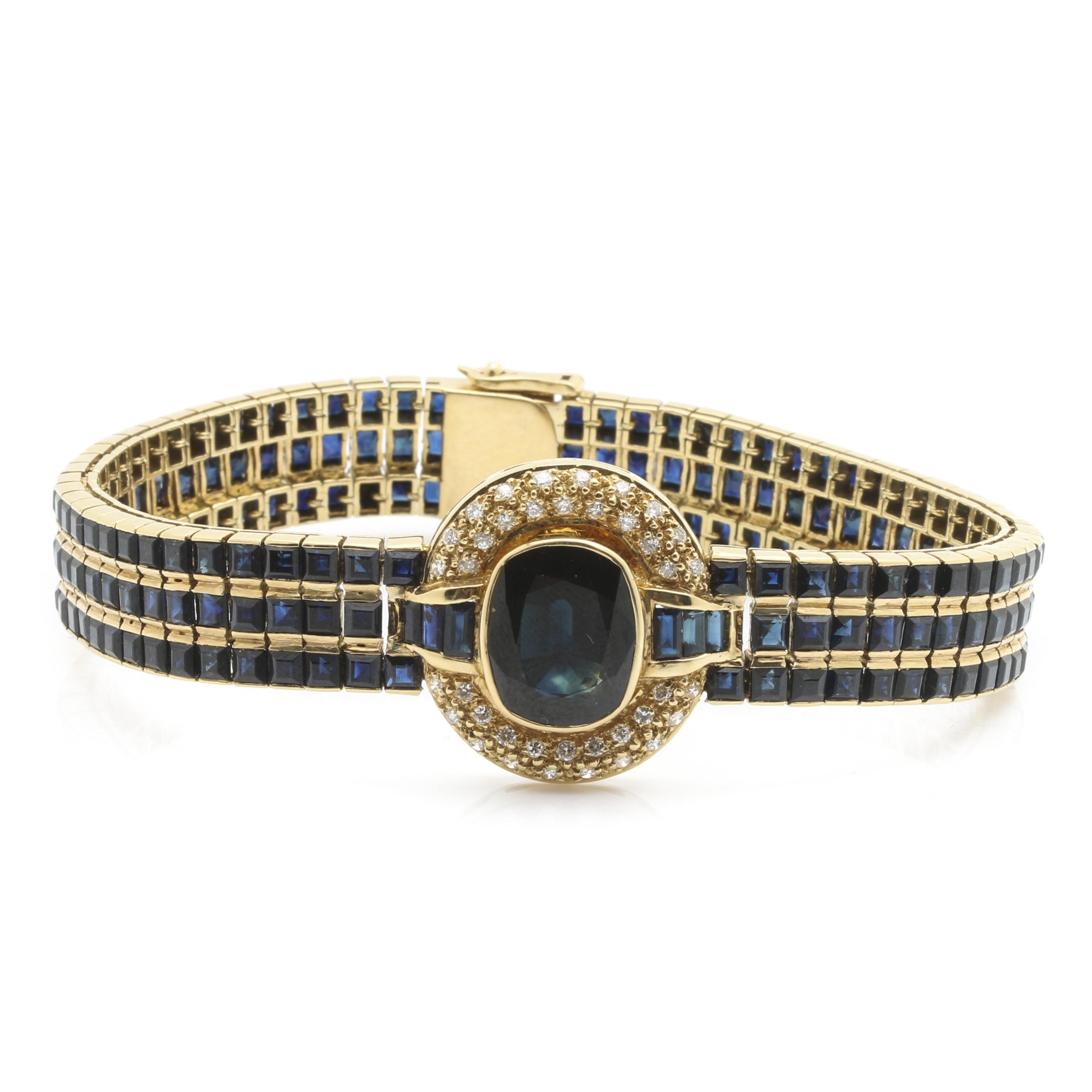 LeVian 18K Yellow Gold 6.87 Carat Sapphire and Diamond Bracelet