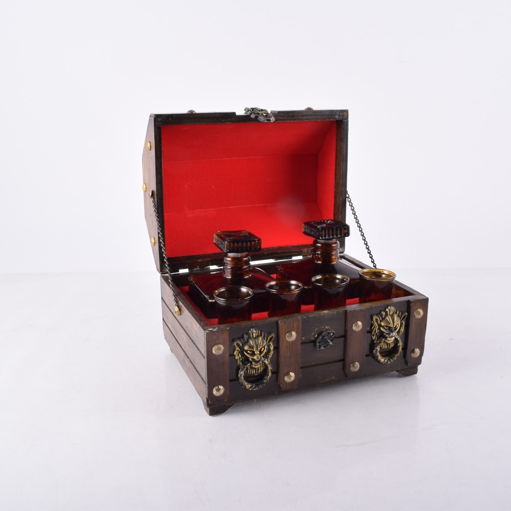 Glass Decanter Set in Wooden Chest