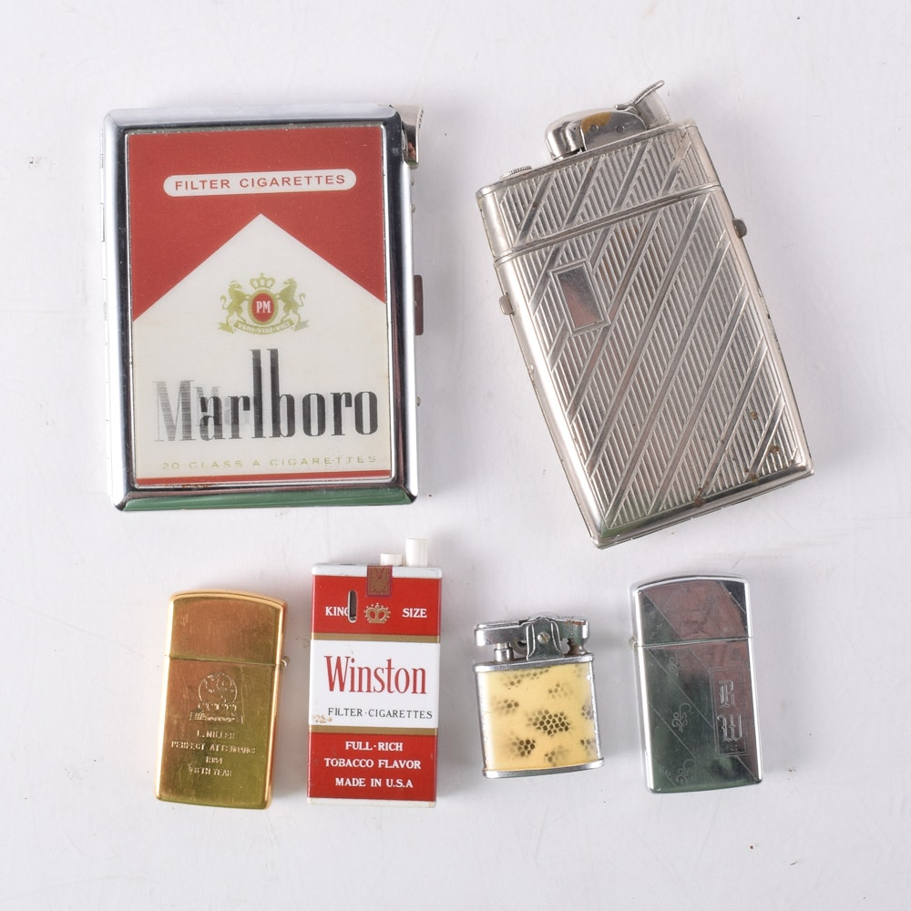 Assortment of Lighters and Cigarette Cases