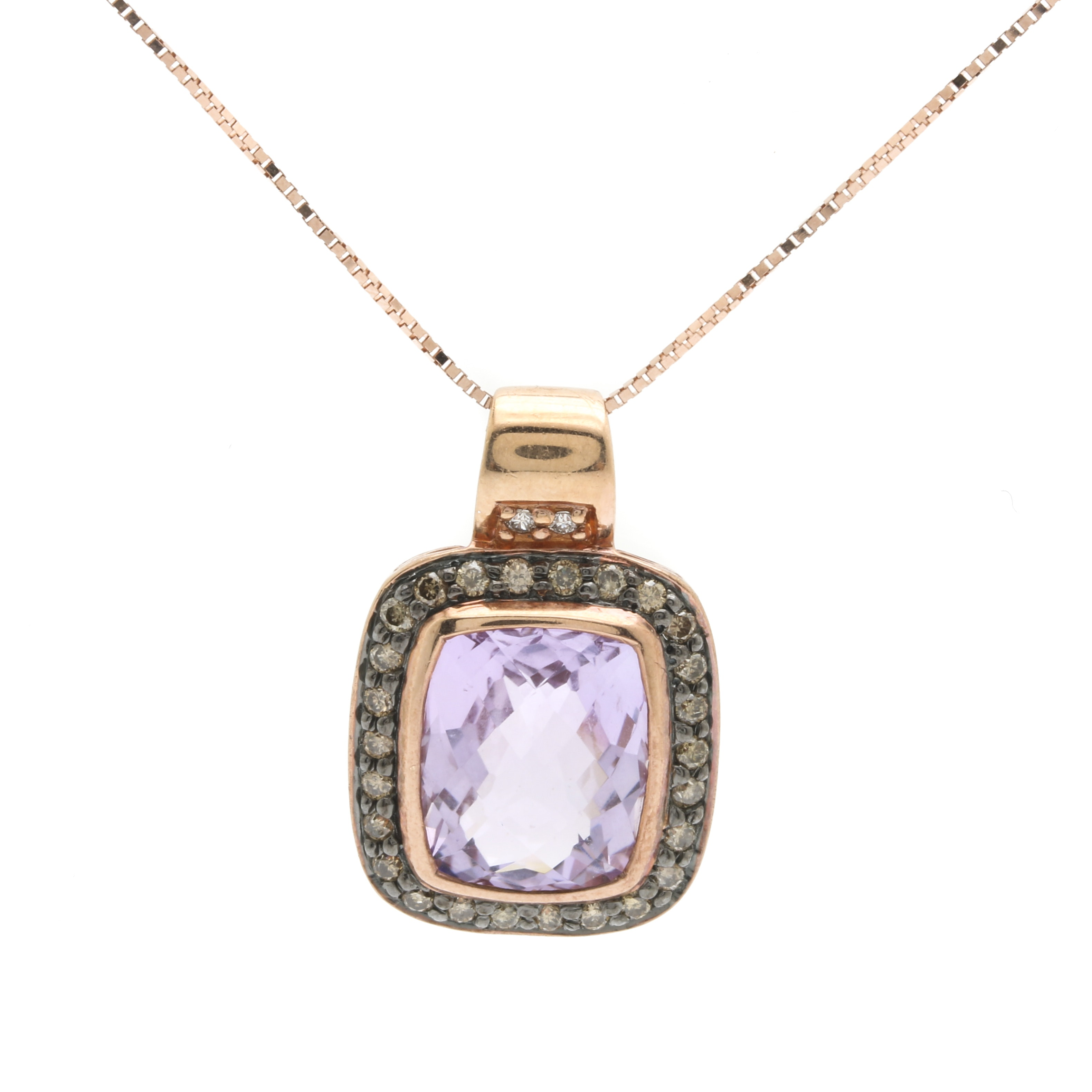 LeVian 14K Rose Gold, Amethyst, and Diamond Pendant Necklace