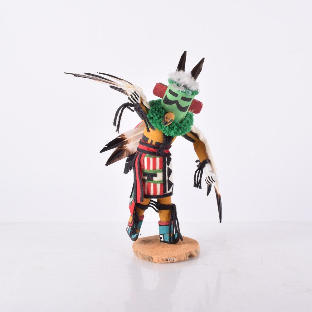 "Gary Ohmsatte Hand-Painted Wooden Kachina Doll ""Eagle"""