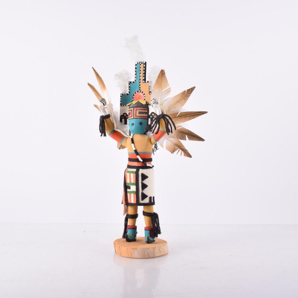 "Gary Ohmsatte Hand-Painted Wooden Kachina Doll ""Knifewing Bird"""