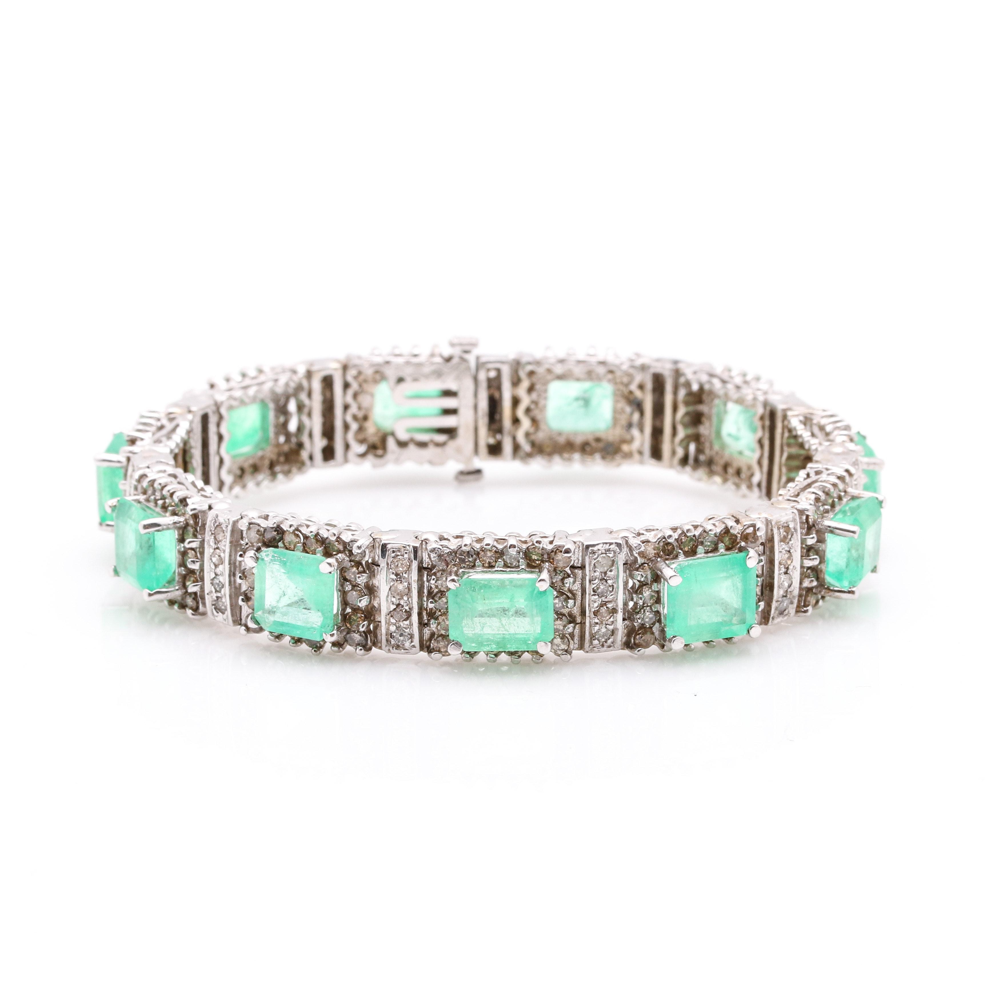 14K White Gold 20.79 CTW Emerald and 12.50 CTW Diamond Flexible Bracelet