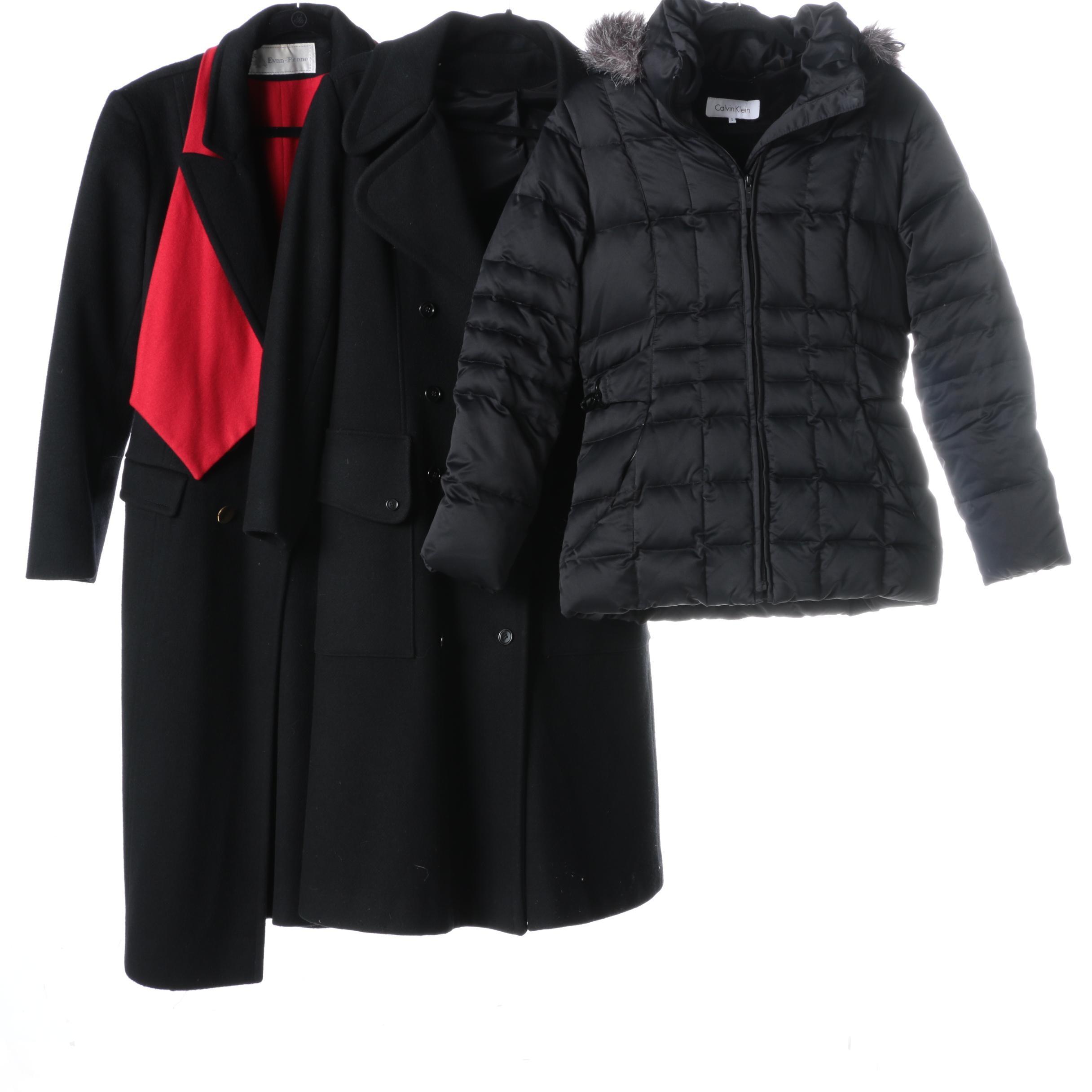Women's Black Coats Including Calvin Klein