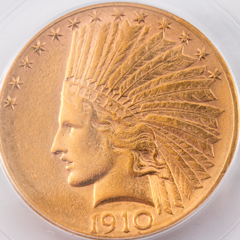 Encapsulated and Graded AU50 (by PCGS) 1910 D Indian Head $10 Gold Eagle