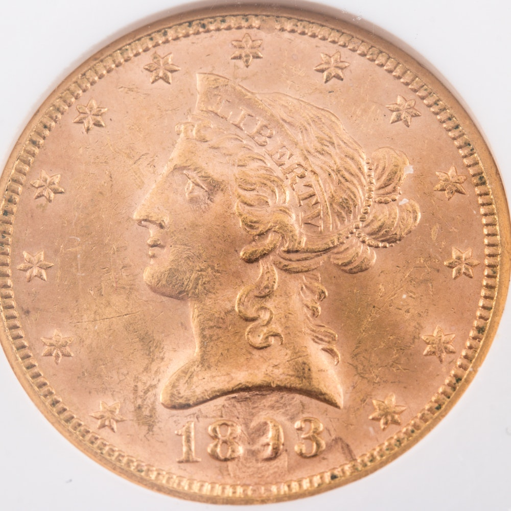 Encapsulated and Graded MS62 (by NGC) 1893 Liberty Head $10 Gold Eagle