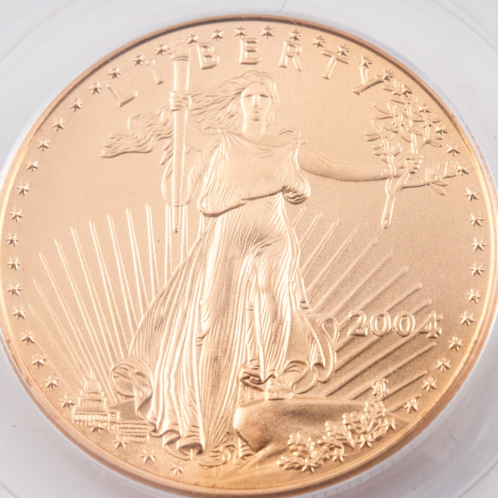 Encapsulated and Graded MS70 (by PCGS) 2004 $25 Gold Eagle Bullion Coin