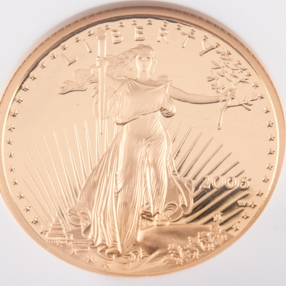 Encapsulated and Graded PF70 Ultra Cameo (by NGC) 2006 W $10 Gold Eagle Bullion Coin