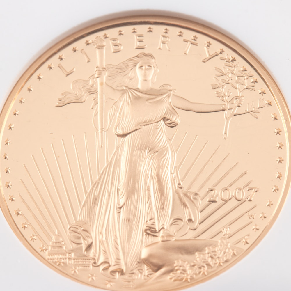 Encapsulated and Graded PF70 Ultra Cameo (by NGC) 2007 W $25 Gold Eagle Bullion Coin