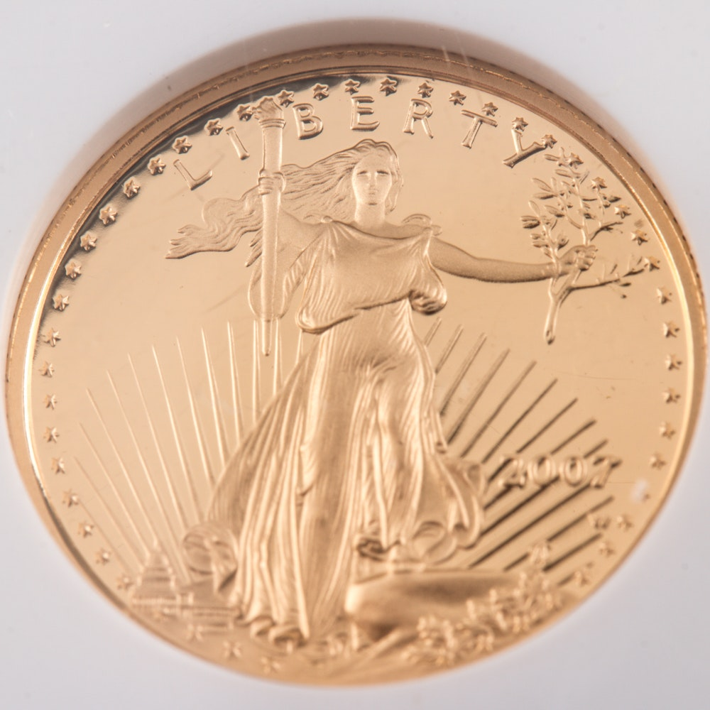 Encapsulated and Graded PF70 Ultra Cameo (by NGC) 2007 W $5 Gold Eagle Bullion Coin