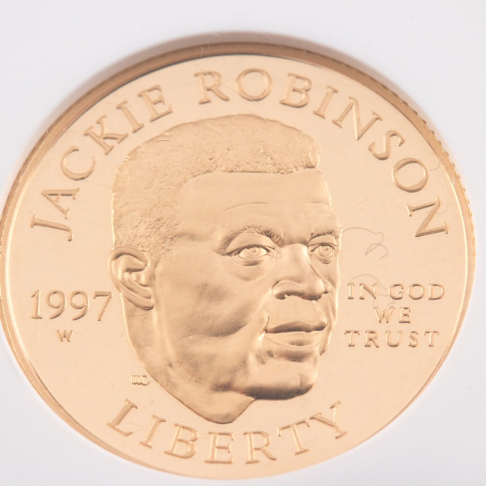 Encapsulated and Graded PF69 Ultra Cameo (by NGC) 1997 W $5 Jackie Robinson Commemorative Gold Coin