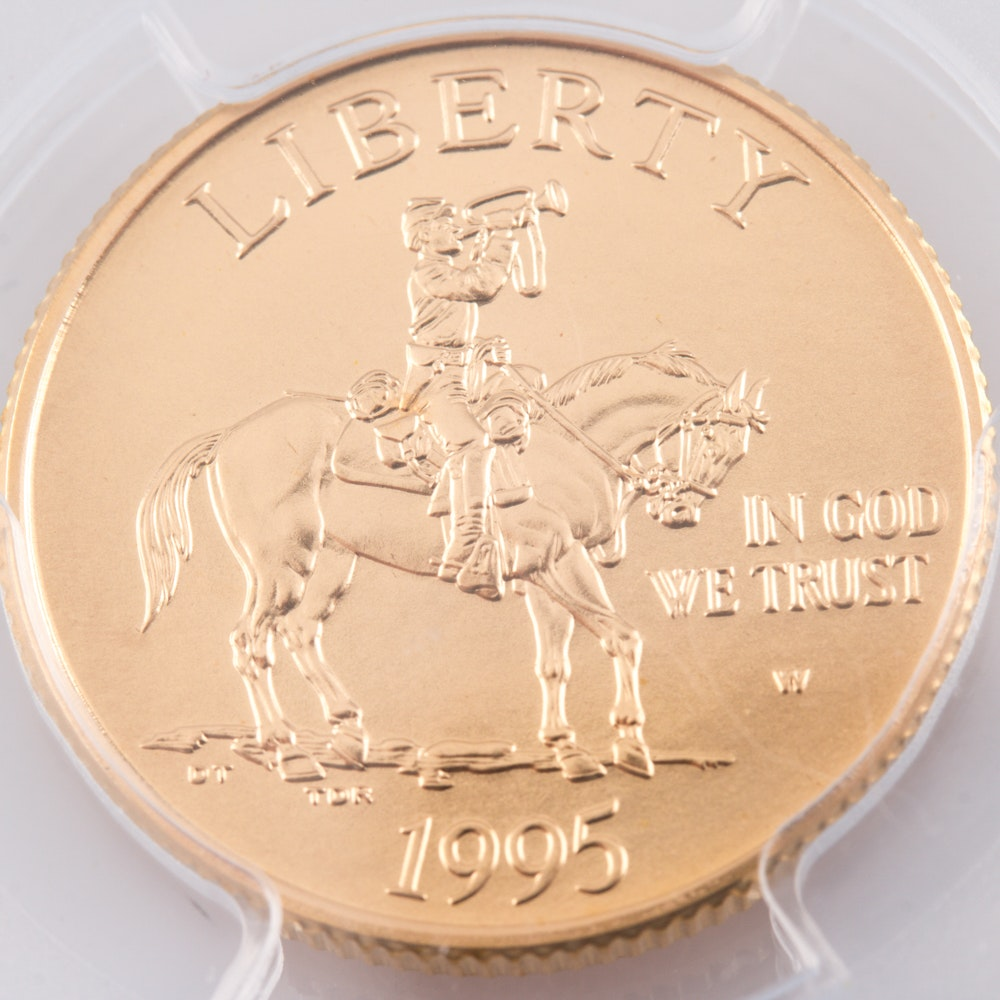 Encapsulated and Graded MS69 (by PCGS) 1995 W $5 Civil War Commemorative Gold Coin