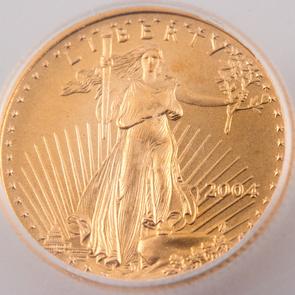 Encapsulated and Graded MS70 (by ICG) 2004 $5 Gold Eagle Bullion Coin