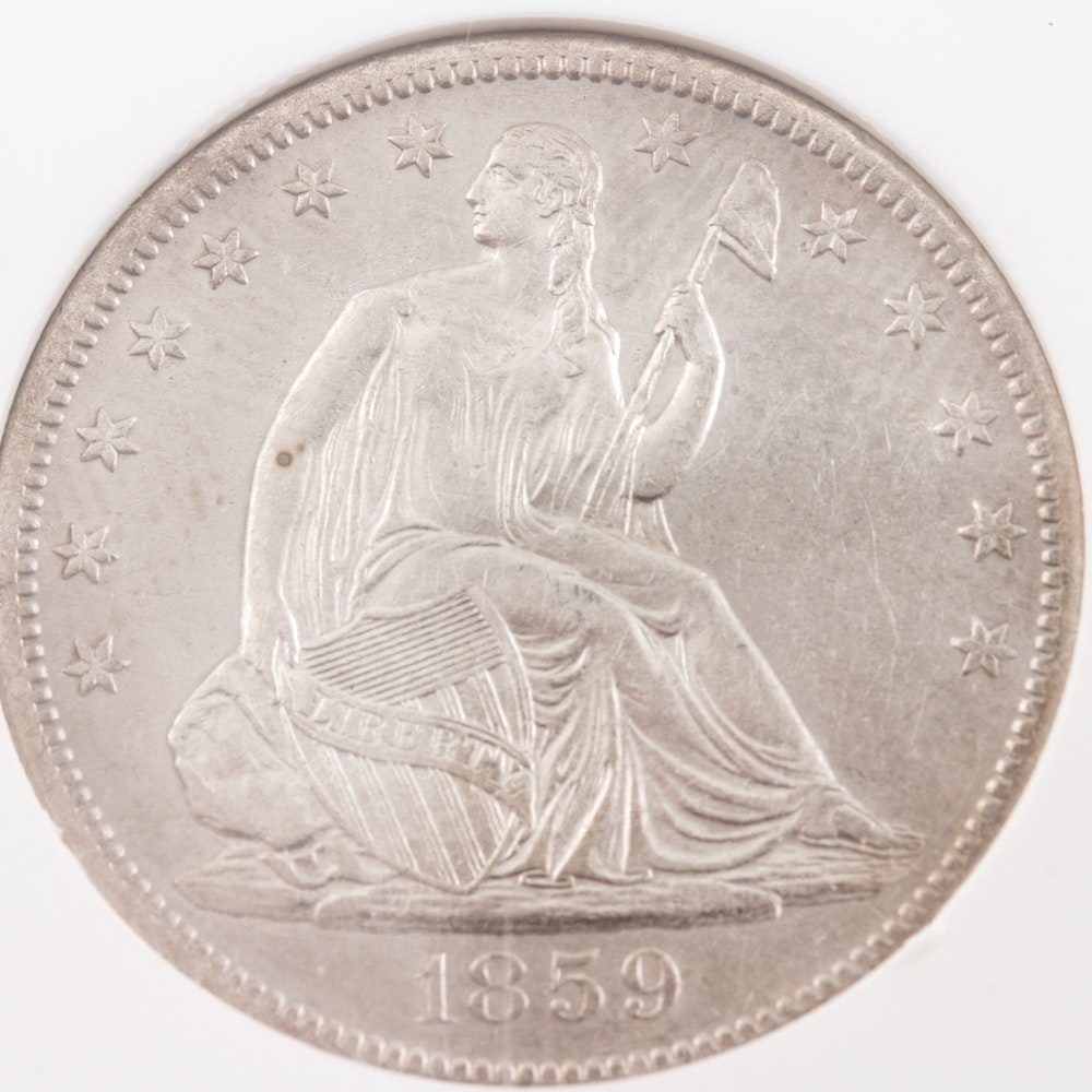 Encapsulated (by NGC) 1859 S Liberty Seated Silver Half Dollar from the SS Republic Shipwreck
