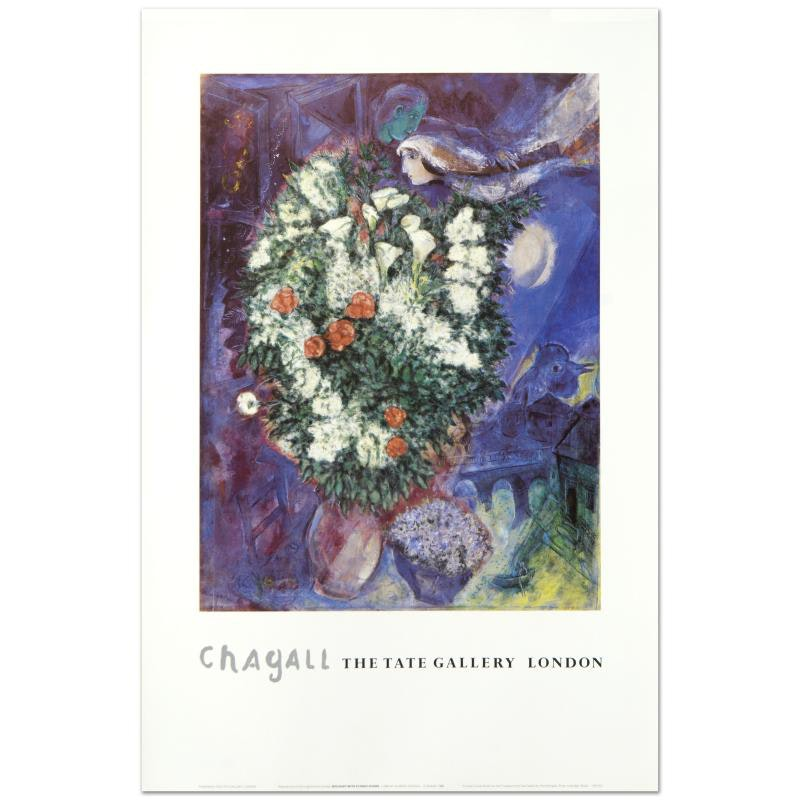 "Marc Chagall Fine Art Poster ""Bouquet with Flying Lover"""