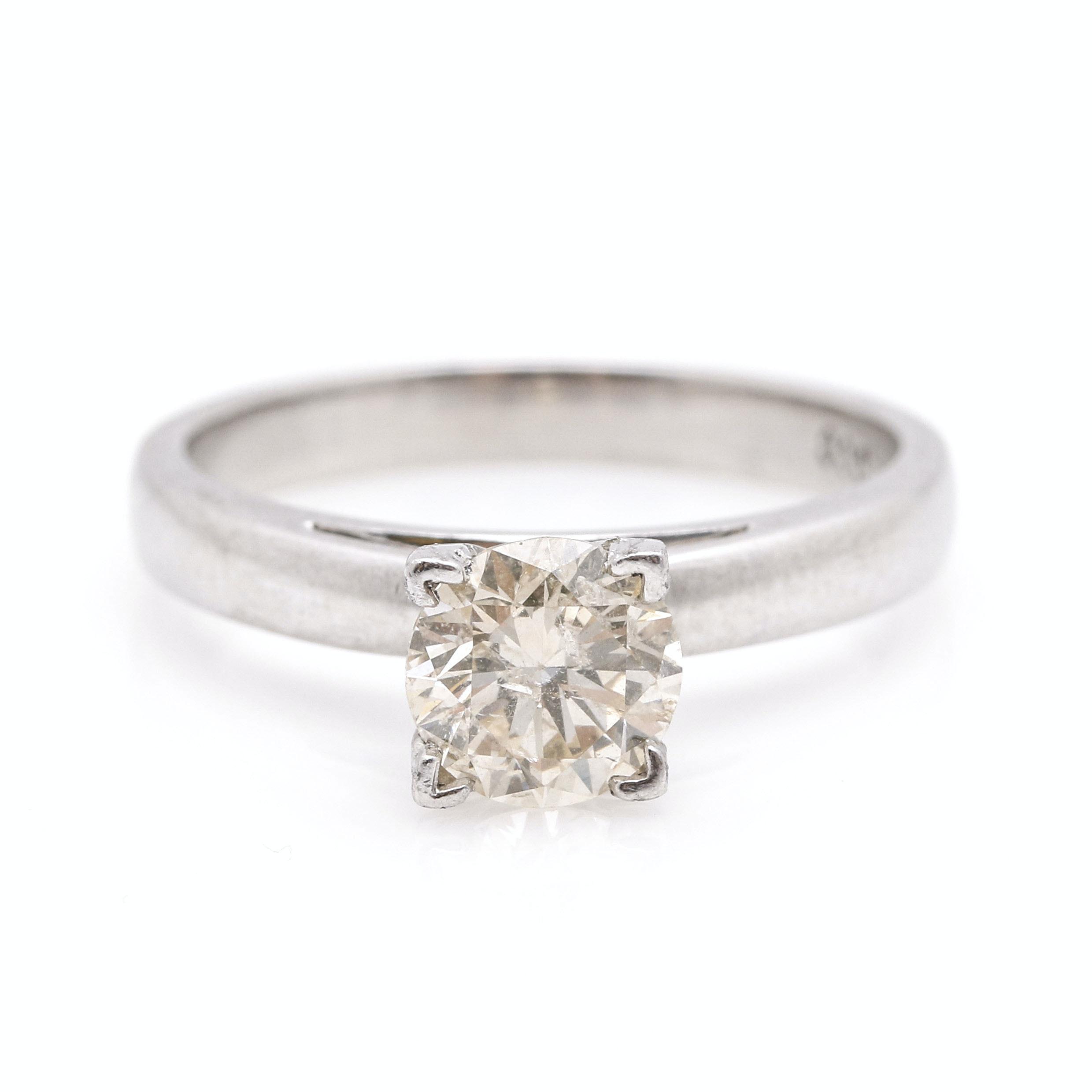 Platinum 1.01 CT Diamond Solitaire Ring