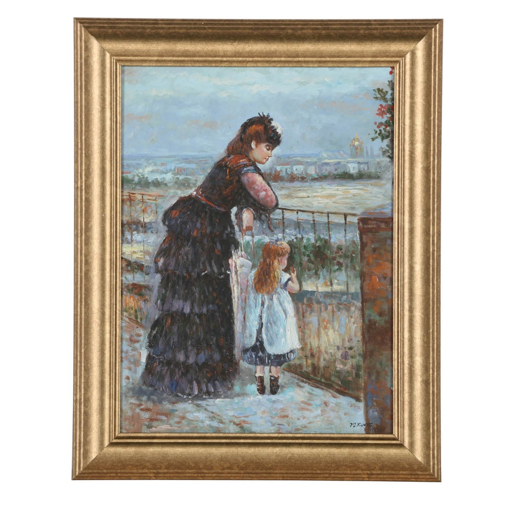 F. Lewis Oil Painting of Woman and Child