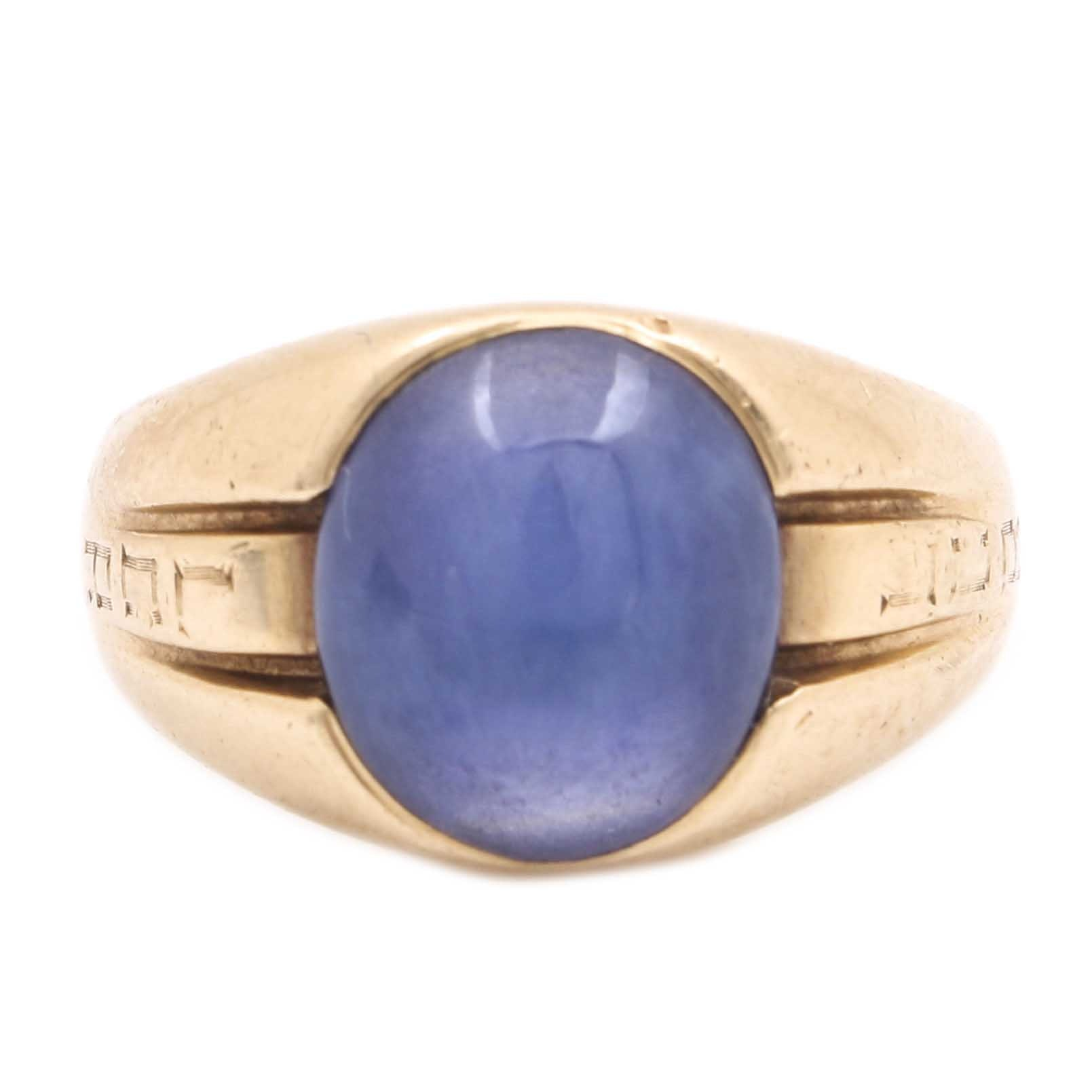 14K Yellow Gold Star Sapphire Personalized Ring