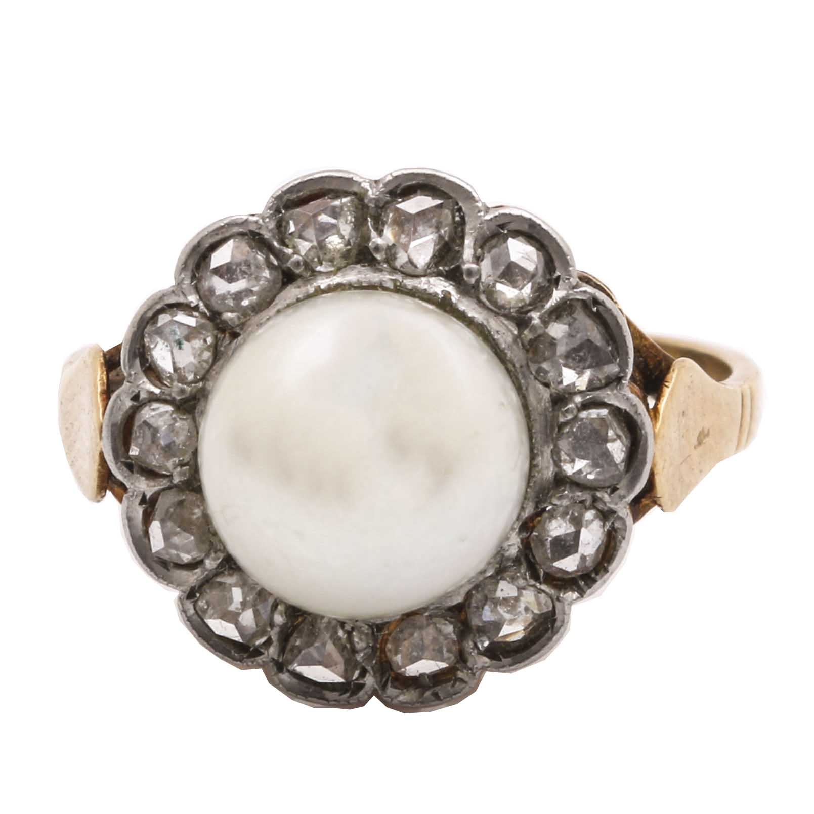 18K Yellow Gold and Platinum Cultured Pearl and Diamond Floral Ring