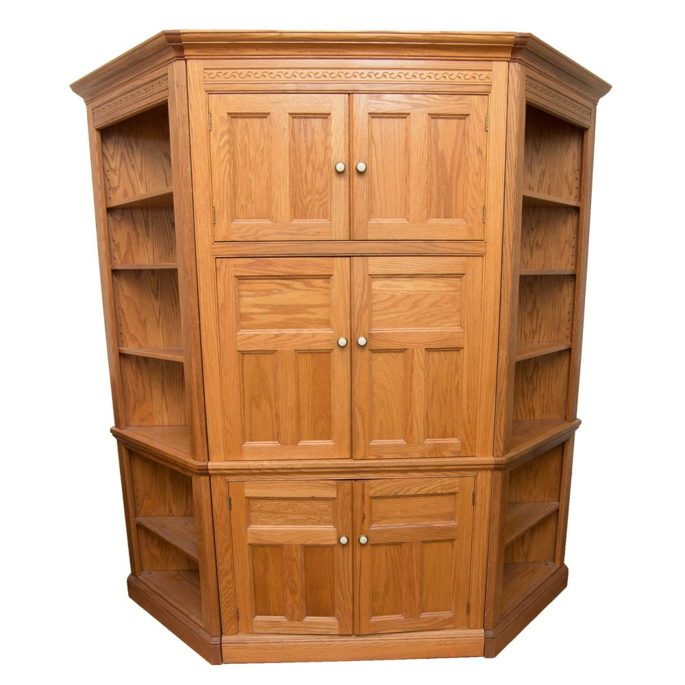Oak Entertainment Cabinet With Bookshelves