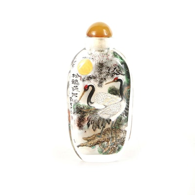 Hand Painted Chinese Glass Snuff Bottle With Crane Motif