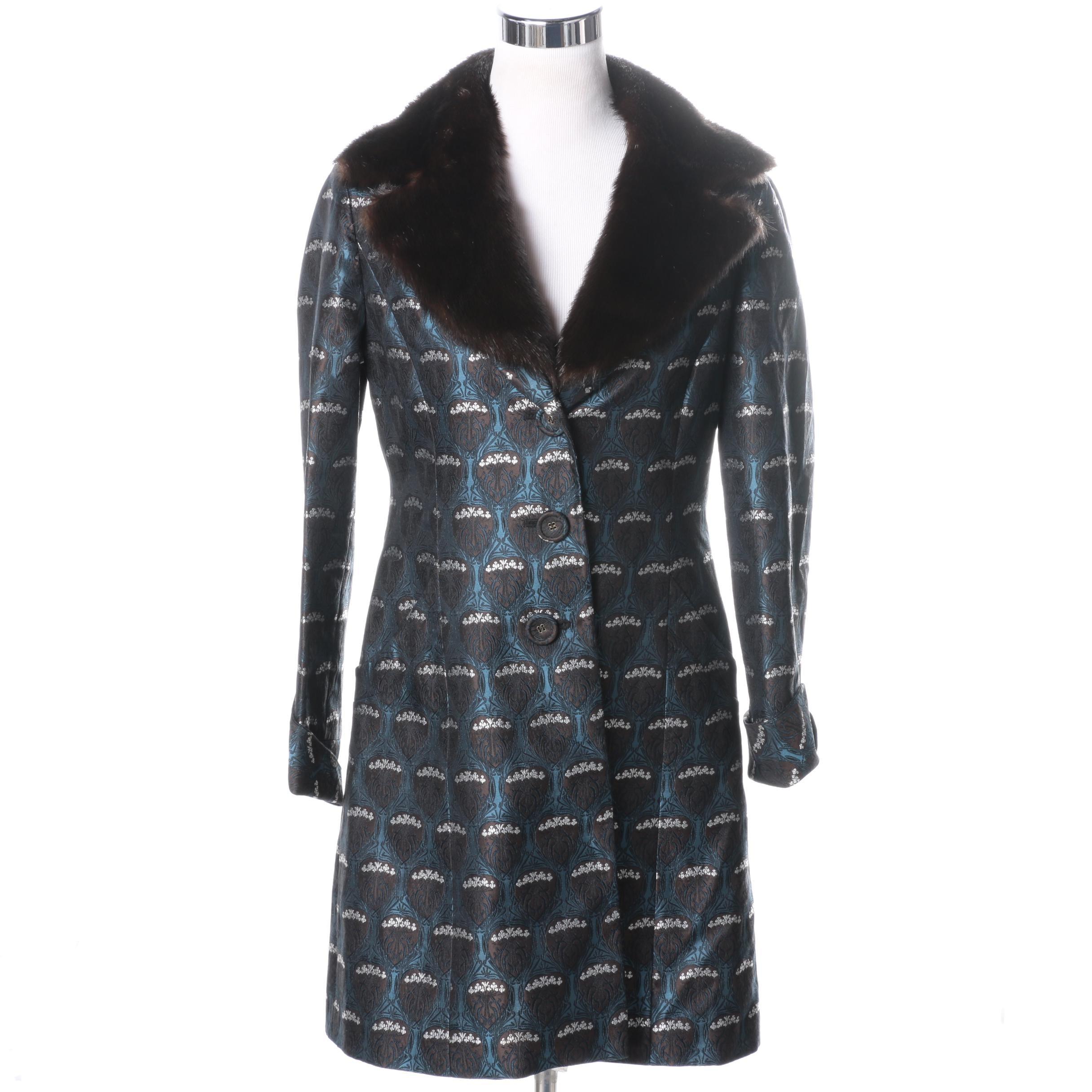 Nine West Silk Blend Dress Coat with Removable Mink Fur Trim