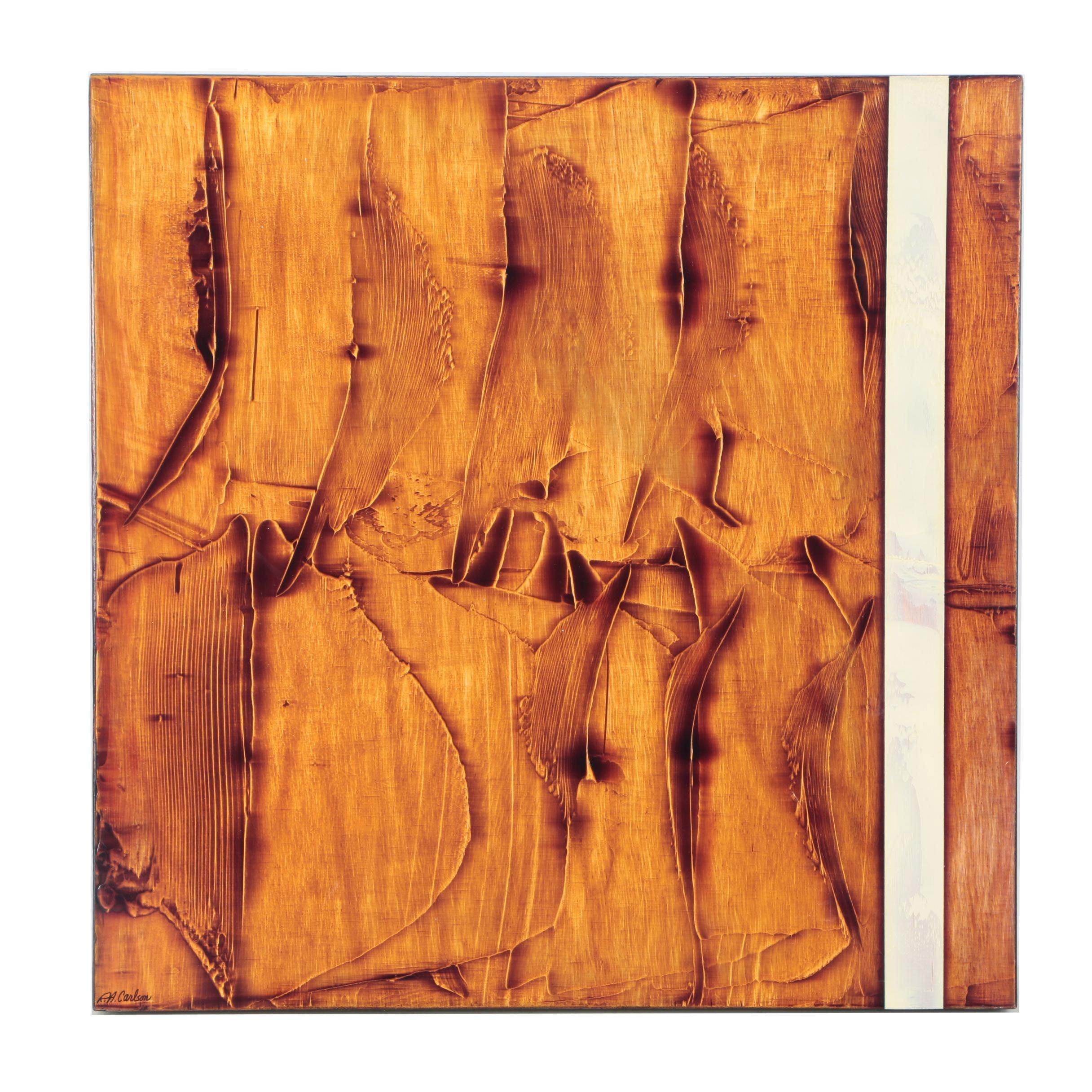 "Richard A. Carlson Acrylic Over Gesso on Wood Panel ""Earth Spirit II"""
