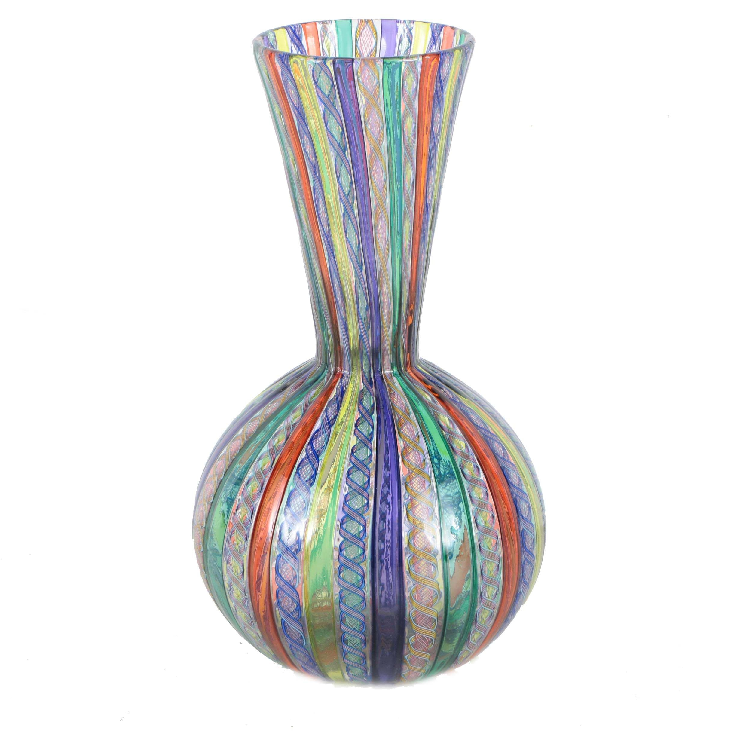 Latticino Hand Blown Venetian Art Glass Vase