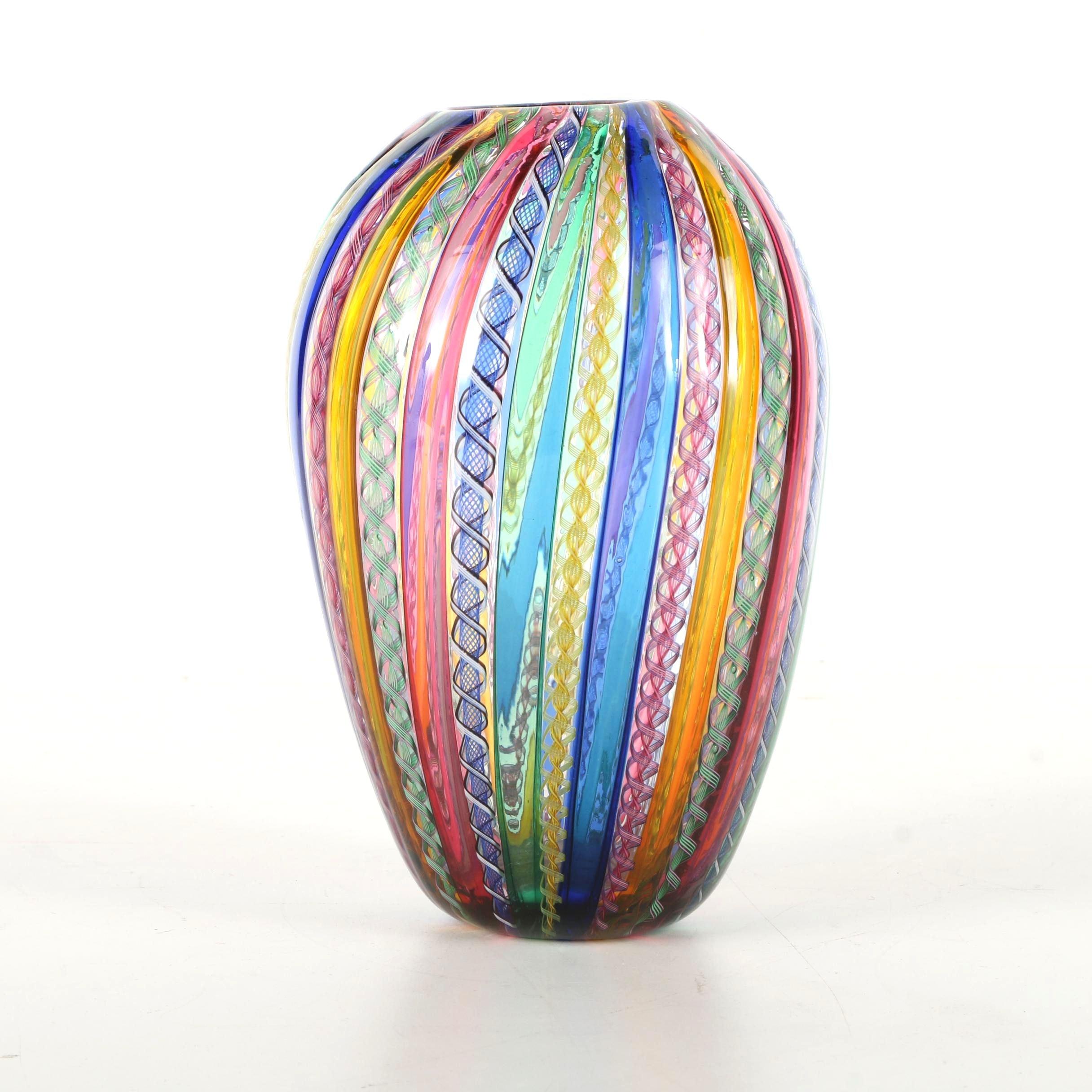 Venetian Hand Blown Latticino Art Glass Vase