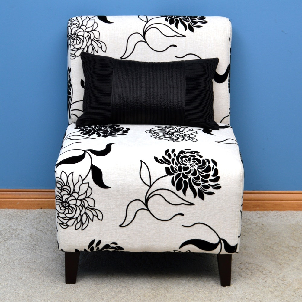 Black and White Floral Side Chair with Pillow