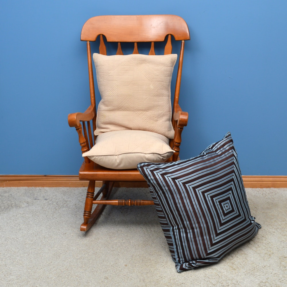 Wood Rocking Chair and Pillows
