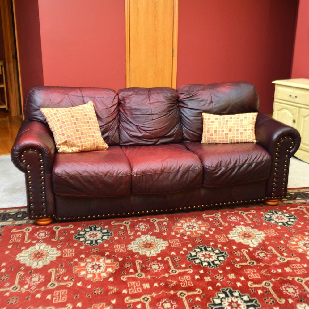 Italian Maroon Leather Couch with Nail Head Trim