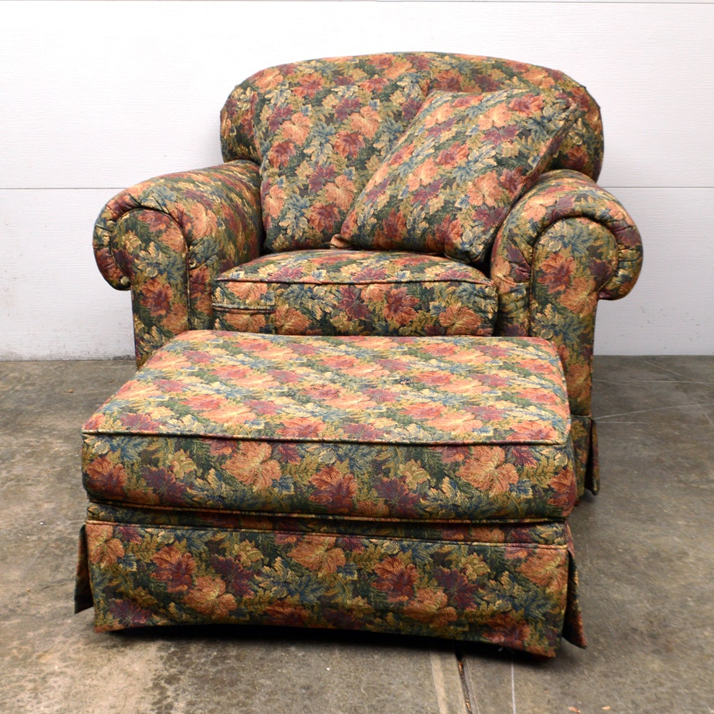 """King Hickory Furniture"" Fall Leaf Chair and Ottoman"