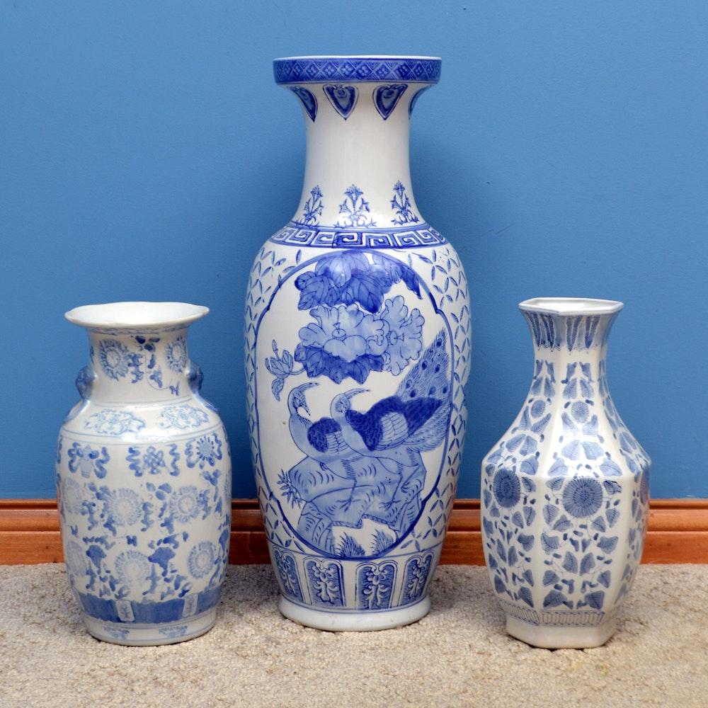 Three Blue and White Chinese Vases