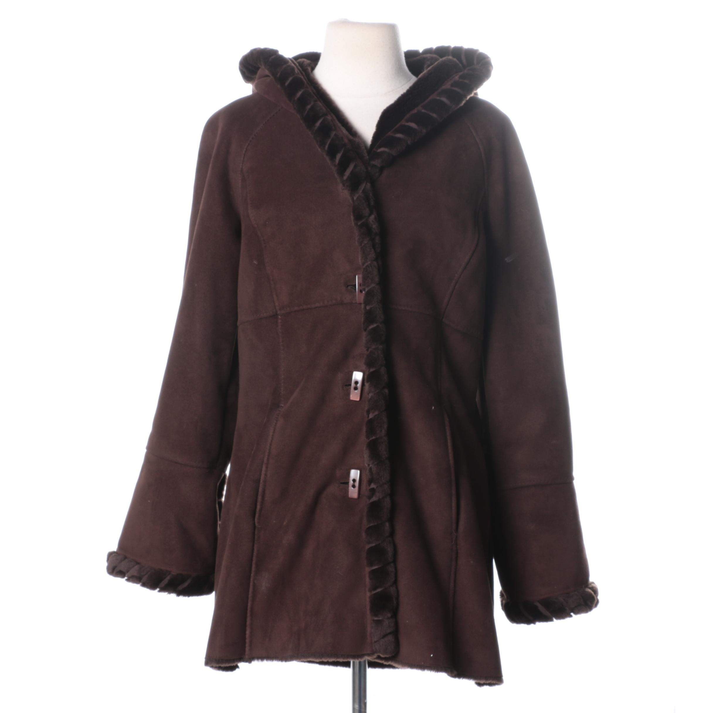 Faux Fur and Suede Brown Coat by Jones New York