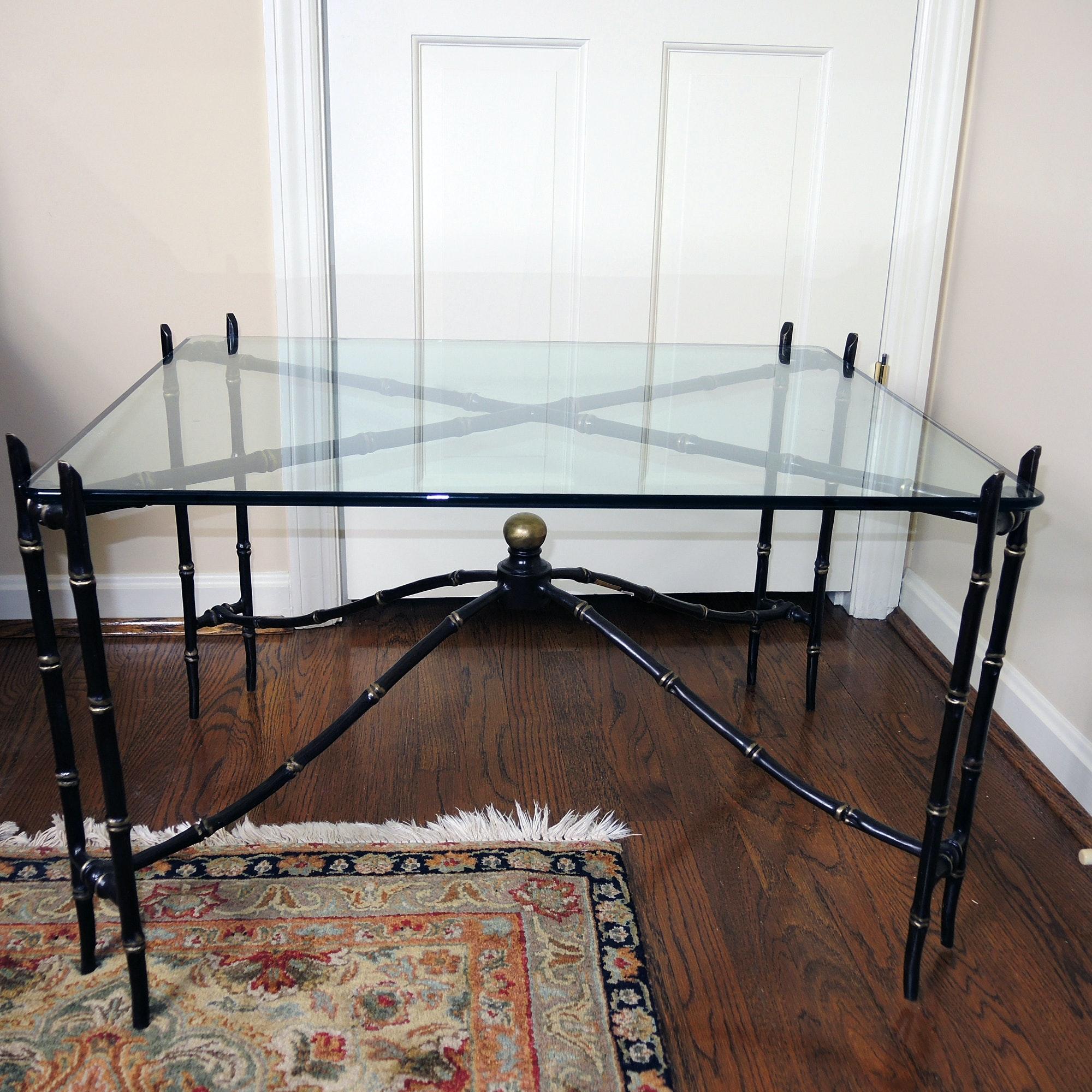 Metal Bamboo Style Glass Top Coffee Table