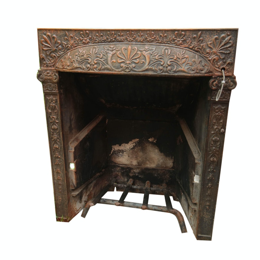 Antique Cast Iron Coal Burning Fireplace Ebth