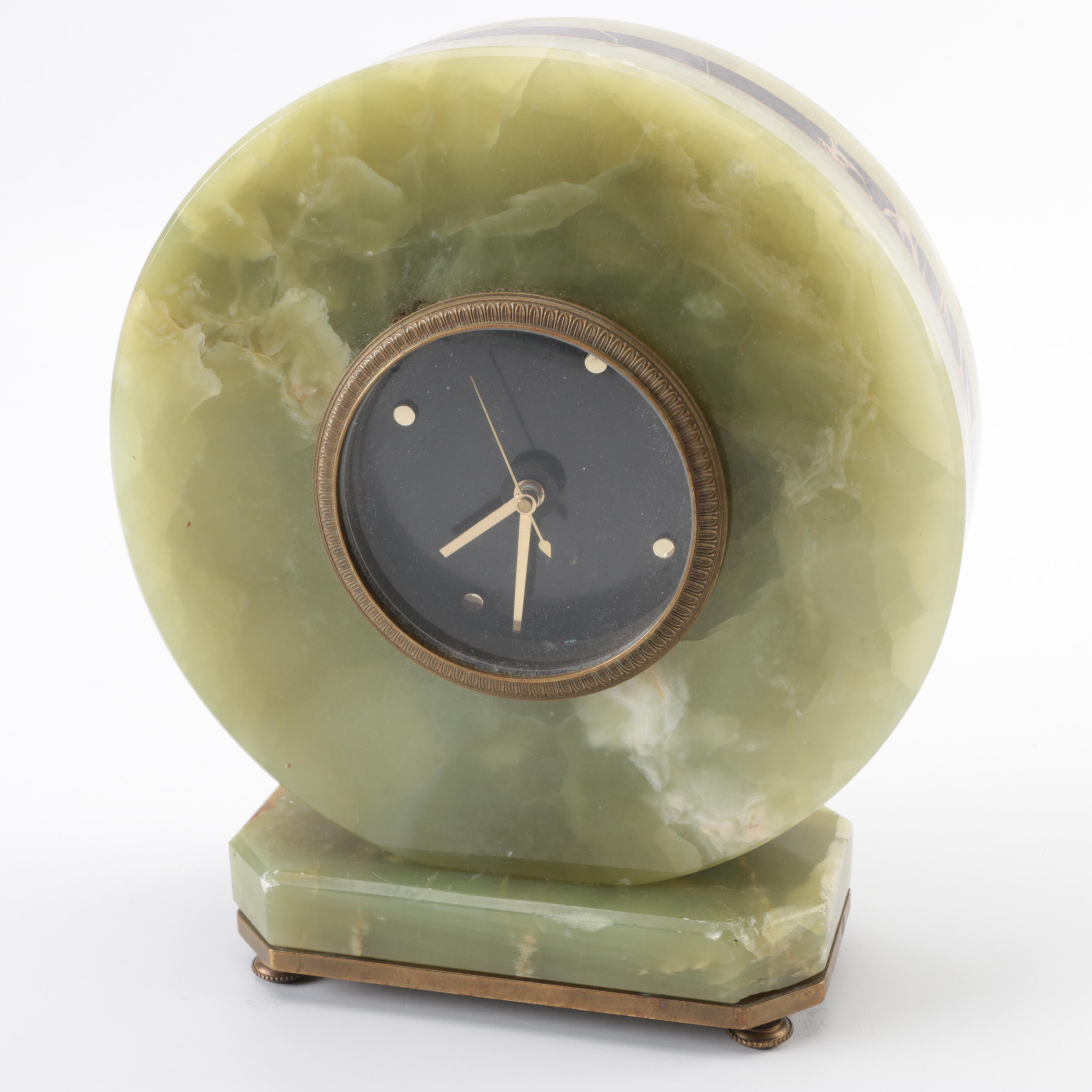 Round Green Calcic, Marble and Onyx Analog Clock