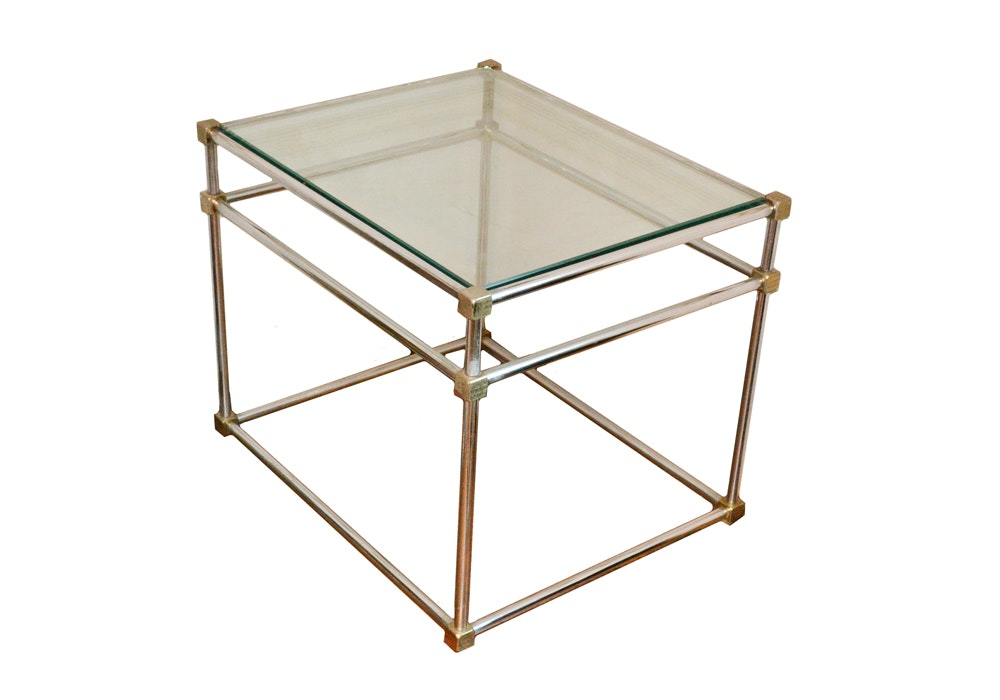 Modernist Metal and Glass Side Table