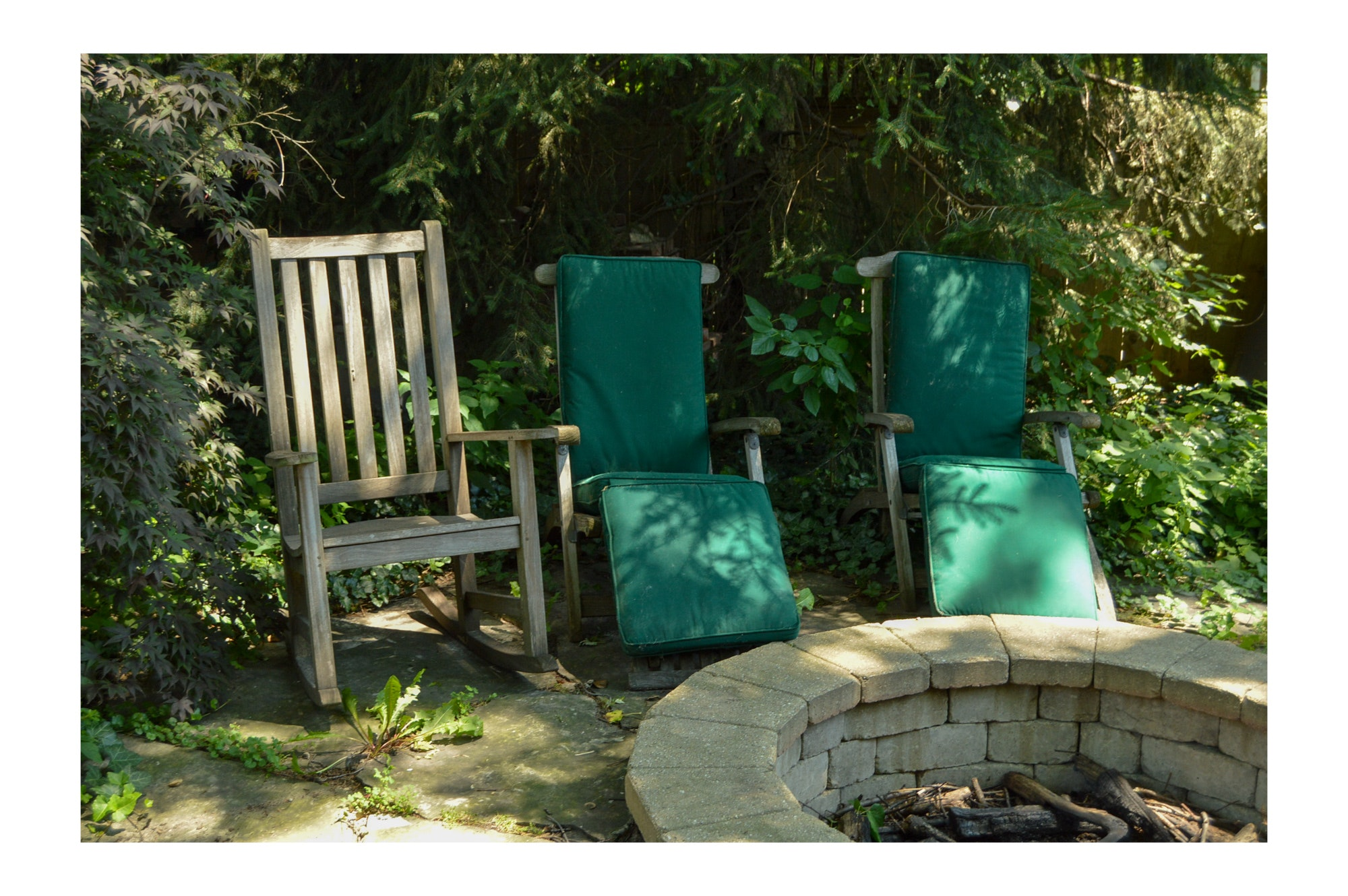 Outdoor Slat Back Recliners and Rocking Chair