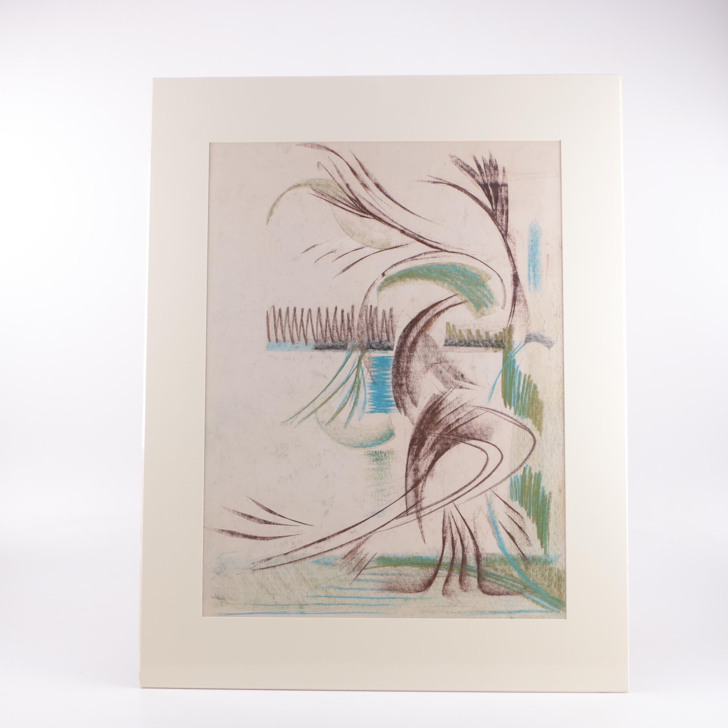 Arthur Helwig Original Pastel Drawing on Paper