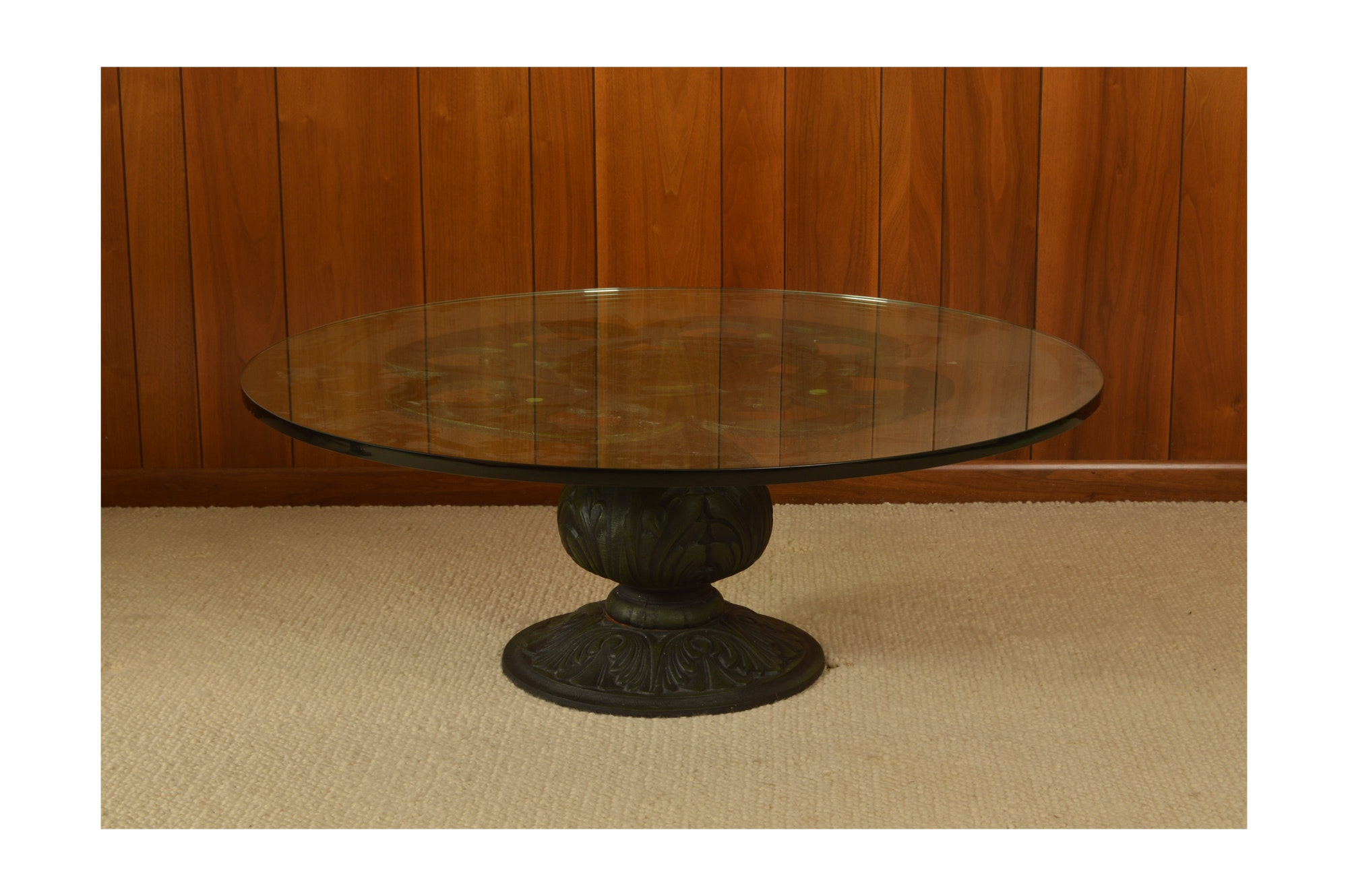 Classical Style Metal and Glass Pedestal Coffee Table