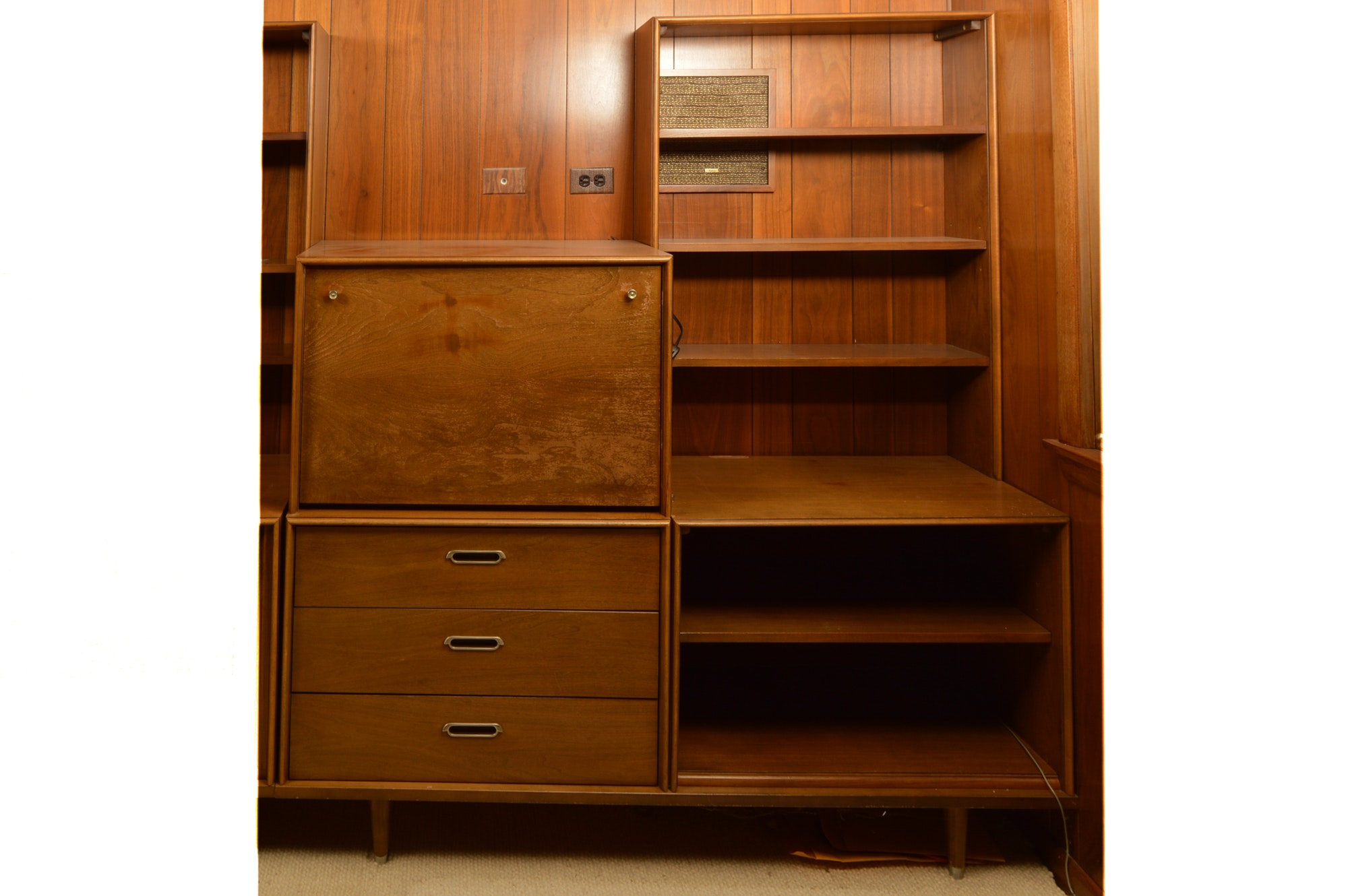 Mid Century Modern Style Unit With Bookcase, Secretary Cabinet and Drawers