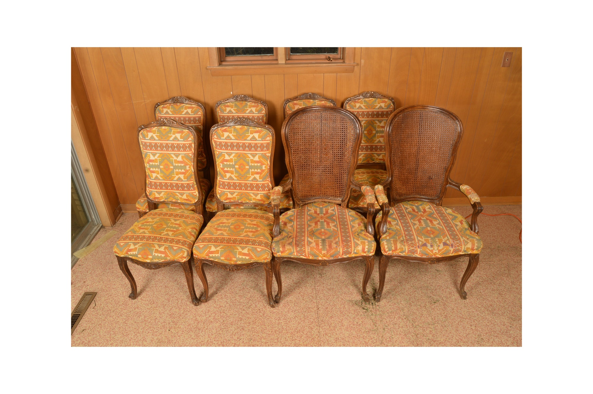 Set of Eight Oak Louis XV Style Dining Chairs by Trouvailles