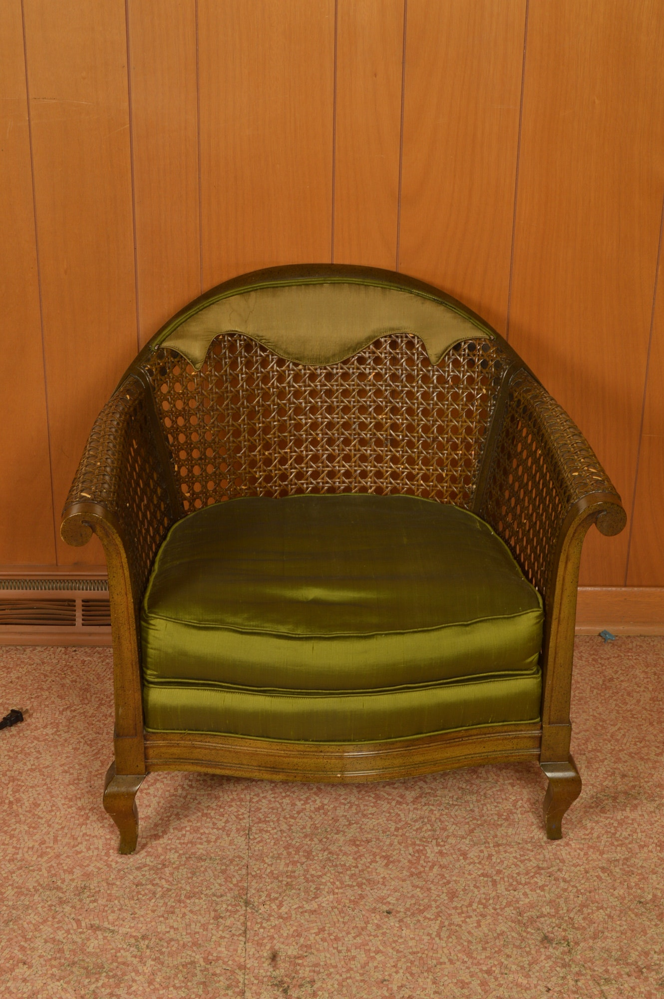 Vintage Cane-Backed Barrel Chair by Jerry Bear